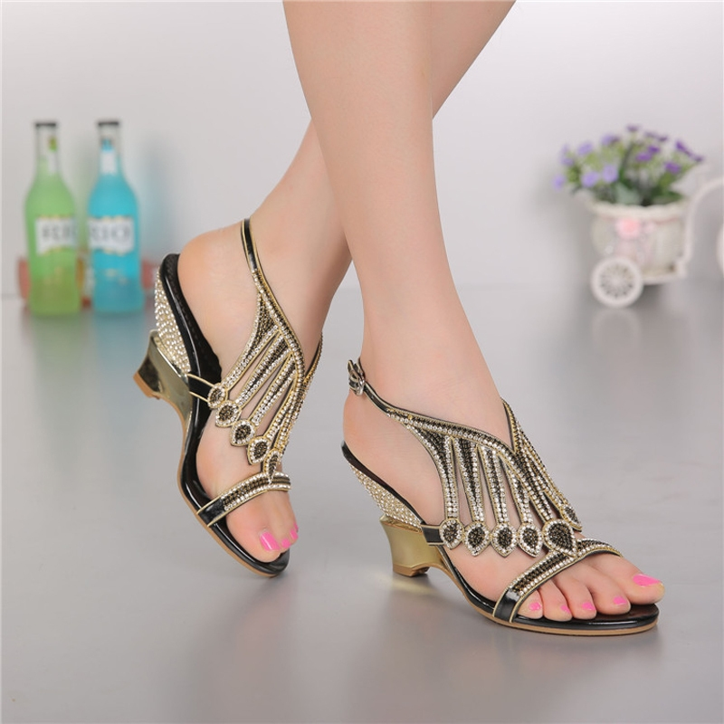cce0f888f Wedge Heels Rhinestones Sandal Ladies Heels Women Sandals For Wedding Party  Slingbacks Womens Shoes New Summer 2016 Sandals