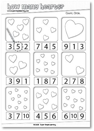 How Many Hearts? Counting worksheet for Preschool ...