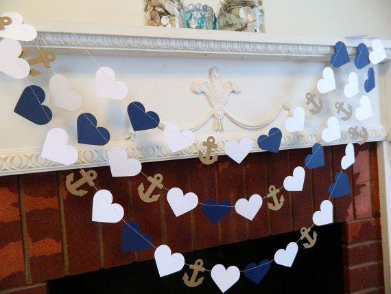 Wedding Garland 10ft Anchors And Heart Garland Navy And White Beach Wedding Decor Nautical Bridal Shower Decor Your Color Choice Girlande Hochzeit Hochzeitsgirlande Und Dekoration Hochzeit