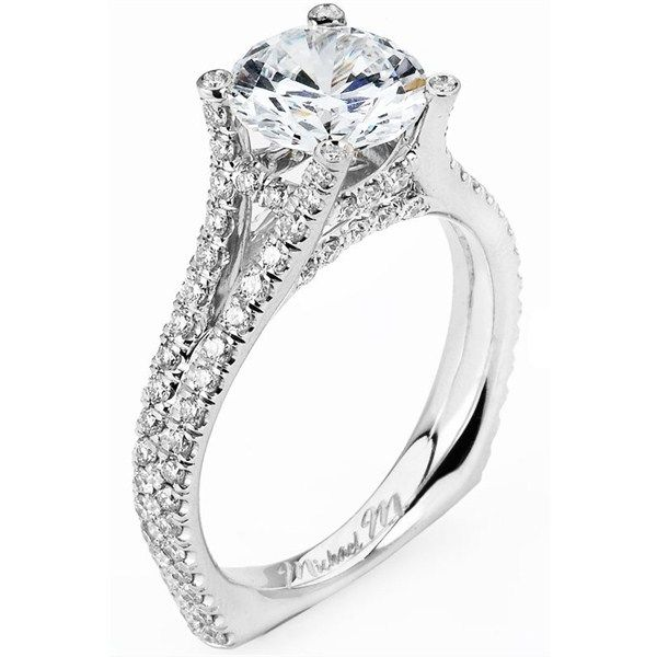 Europa Collection 92 Stone Round Diamond U G Set Cathedral Style Engagement Ring With Square