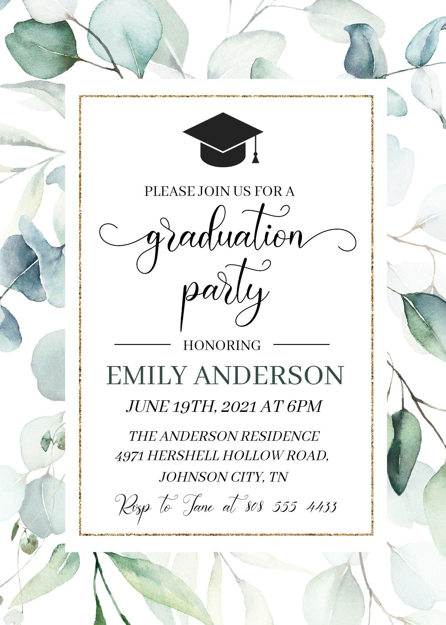 Graduation Invitation Template, Class 2021 Greener