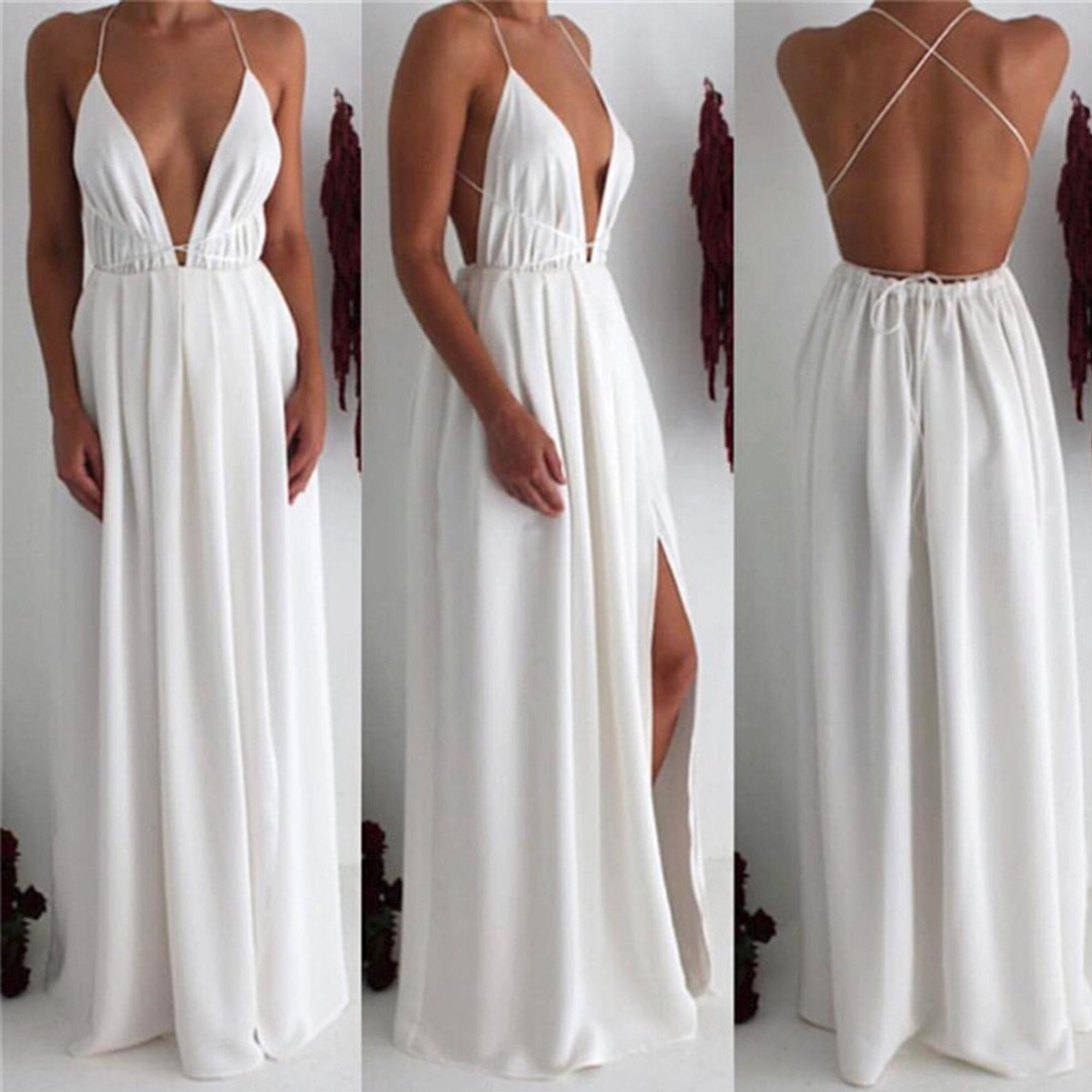 5f227c3883 PRODUCT DETAILS - Maxi dress - Long - Backless - Strappy - Chiffon - Slit