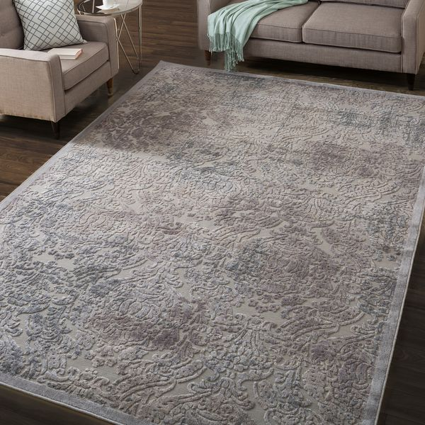 Nourison Graphic Illusions Grey Antique Damask Pattern Rug 7 9 X 10