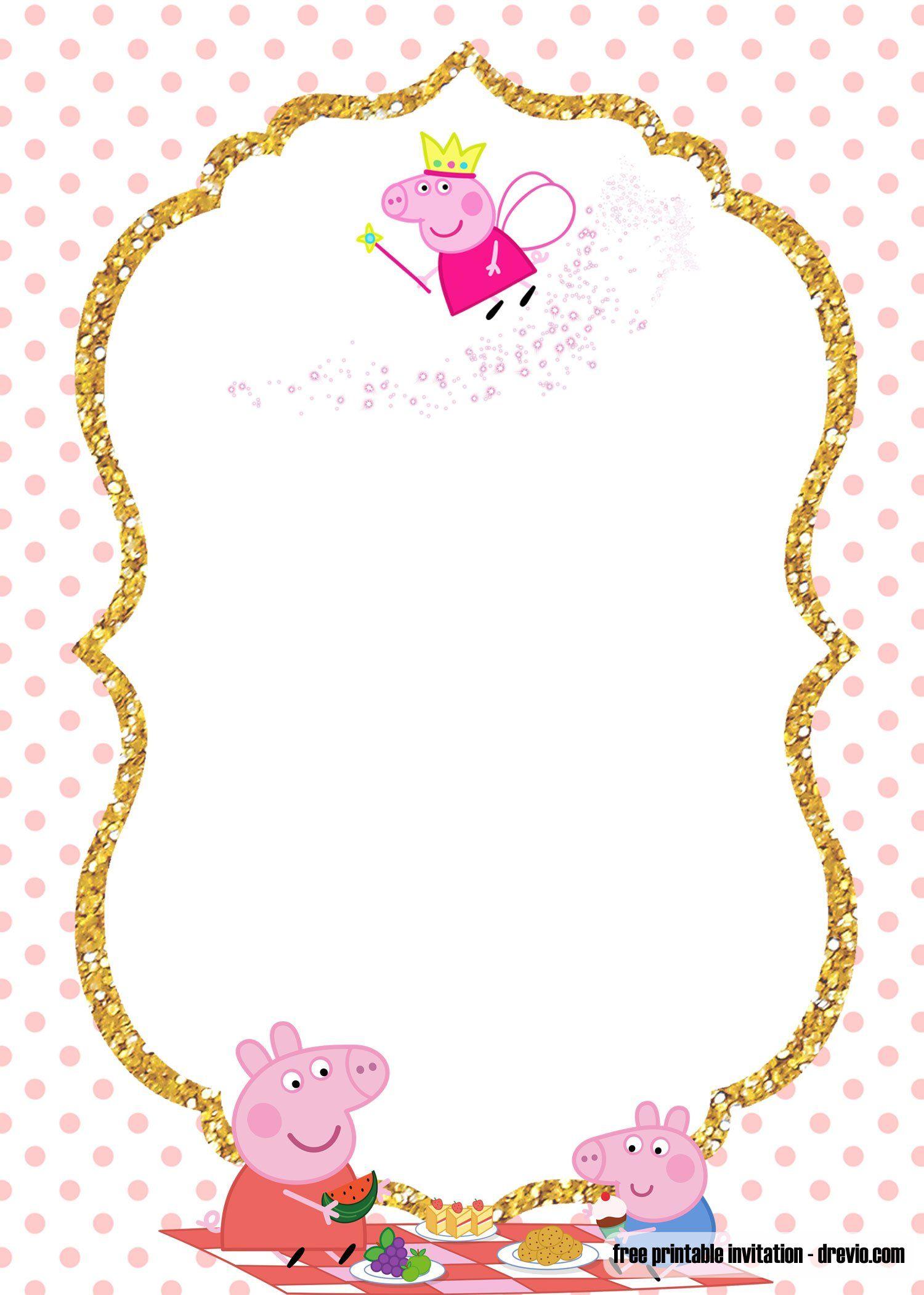 Free Printable Peppa Pig Invitation Template In 2021 Peppa Pig Invitations Pig Invitation Peppa Pig Birthday Invitations Peppa pig invitation template free