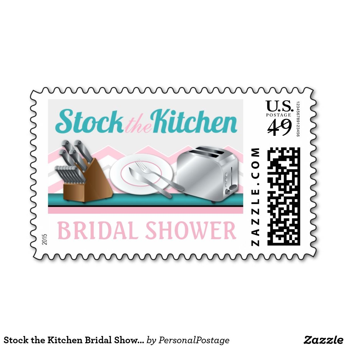 Stock the Kitchen Bridal Shower Postage Stamps   Bridal showers