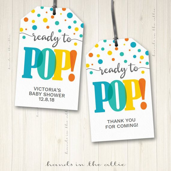 Baby shower labels ready to pop gift tags favor tags hang tags DIY ...