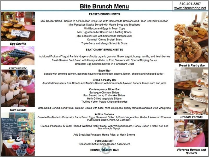 Brunch Menu By Bite Catering Couture In Los Angeles Nuptial