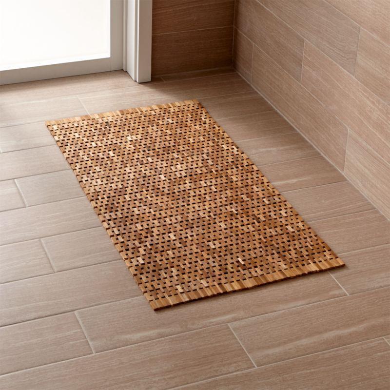 Lattice Wooden Mat Reviews Crate And Barrel Bathroom Mats