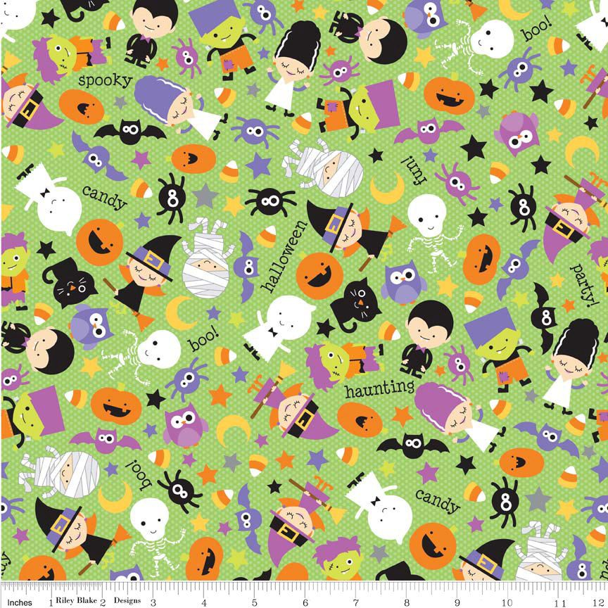 Fat Quarter Halloween Parade Green Cotton Quilting Fabric Riley Blake C3960 by Petestreasuretrove on Etsy