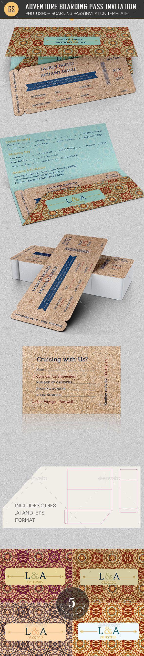 Wedding Adventure Boarding Pass Invitation Template   Empfänge ...