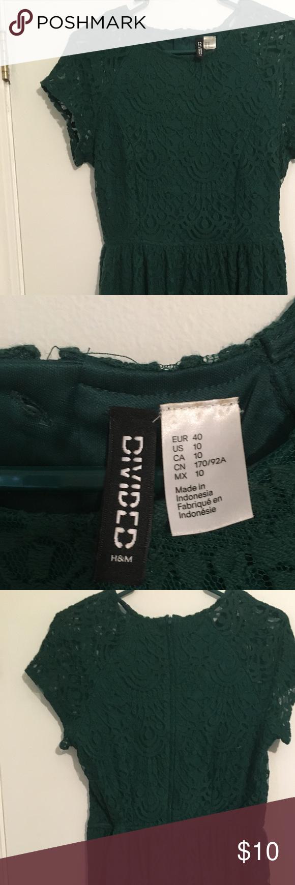 H&m green lace dress  Hunter green lace dress HuM  Green lace dresses Green lace and