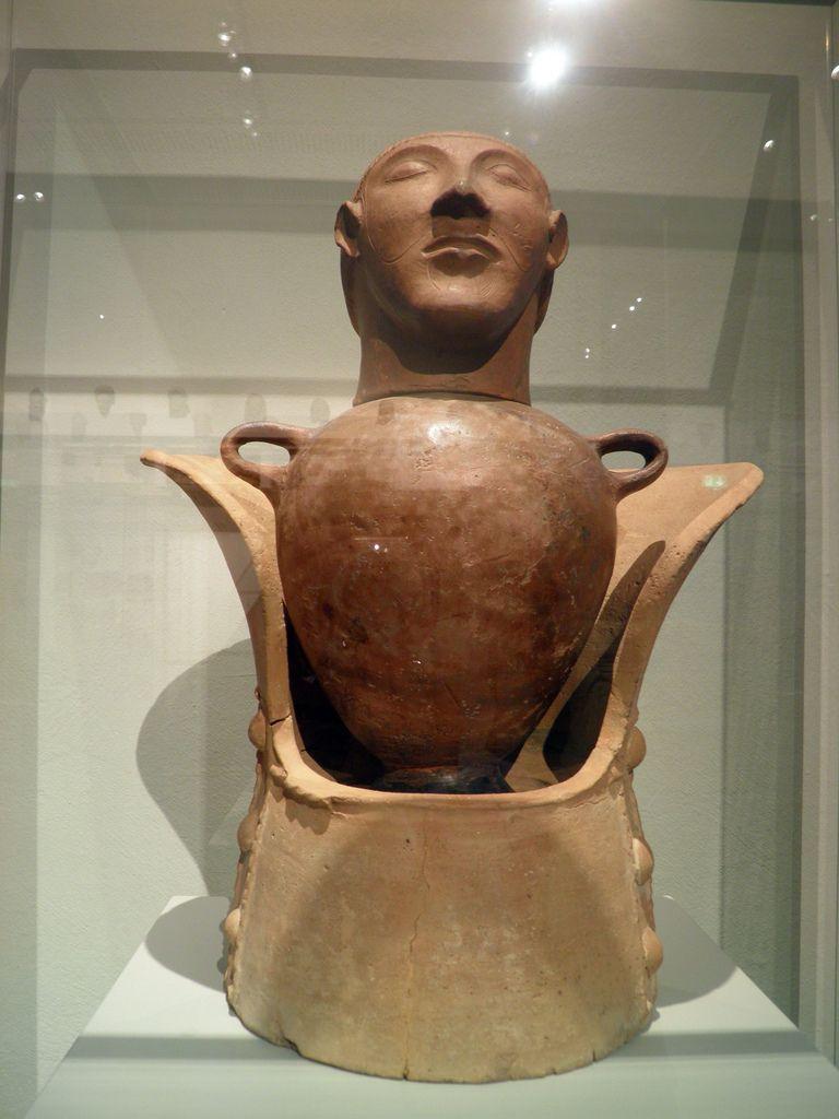 Cinerary Urn in the Shape of Canopus, Italia Antiqua: Etruscans and Romans (Altes Museum, Berlin). Sarteano (Italy). Red Impasto, 600 - 550 BC