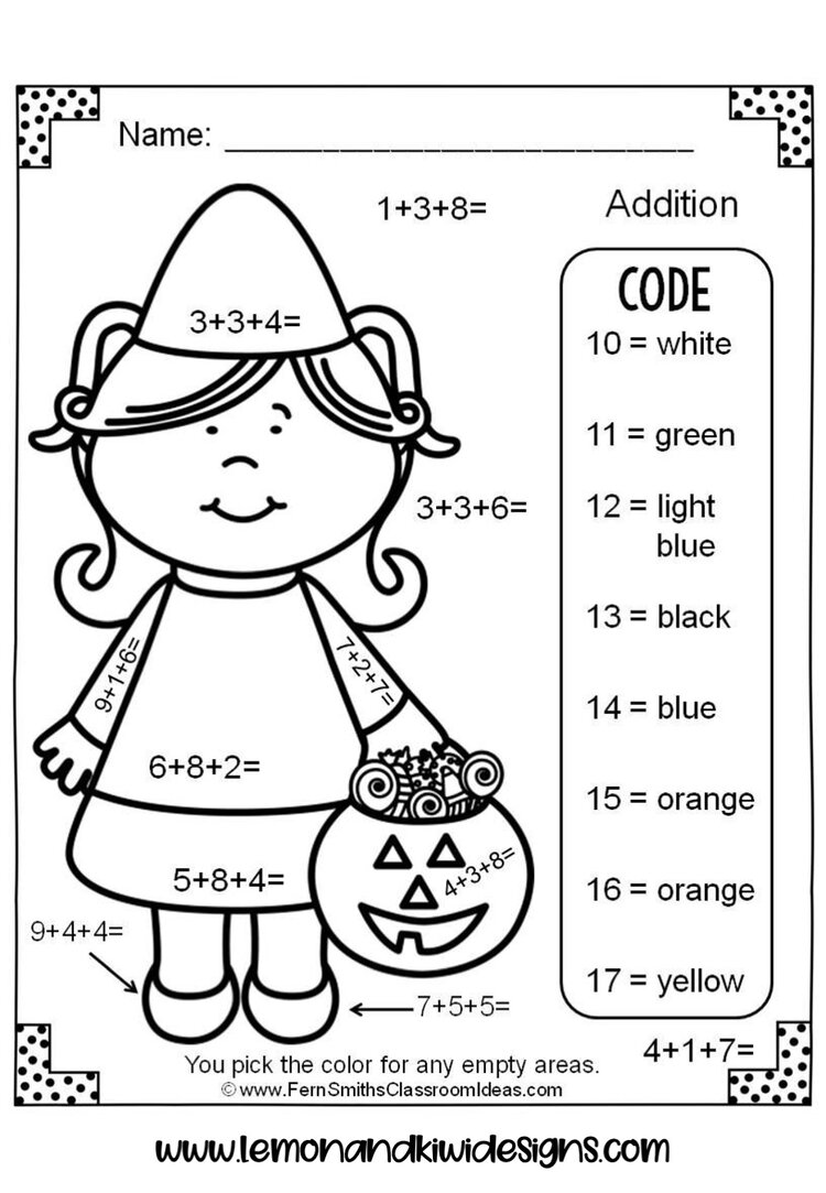 Free Spooktacular Halloween Math Worksheets For Kids Lemon Kiwi Designs Halloween Math Worksheets Math Coloring Worksheets Halloween Worksheets