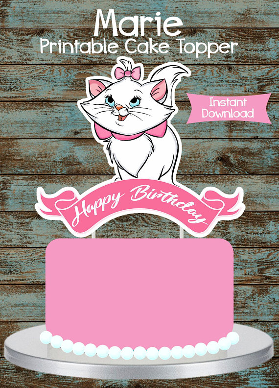 Marie the Aristocat Inspired Cake Topper Birthday Party Decoration