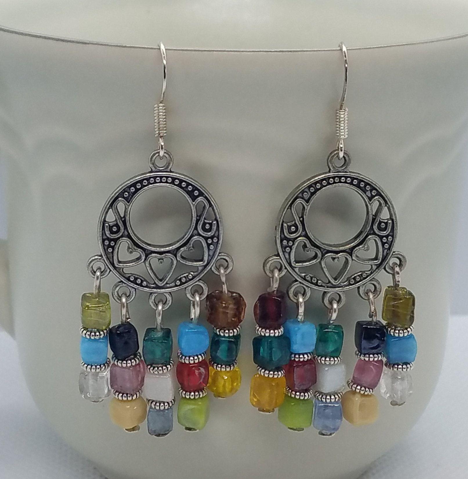 Vintage earrings red drops  breeding bead stainless steel Stainless steel  boho  earrings