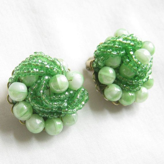 Vintage Lime Green Glass Art Beads and Seed Beads Hand Wired Earrings signed Marvella by MyVintageJewels
