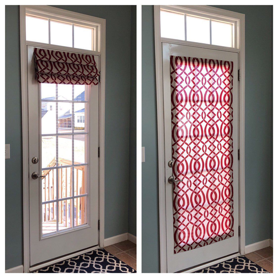 Magnetic Shade No Hardware Fits Doors With Window Etsy Door Coverings Front Doors With Windows Door Curtains Diy
