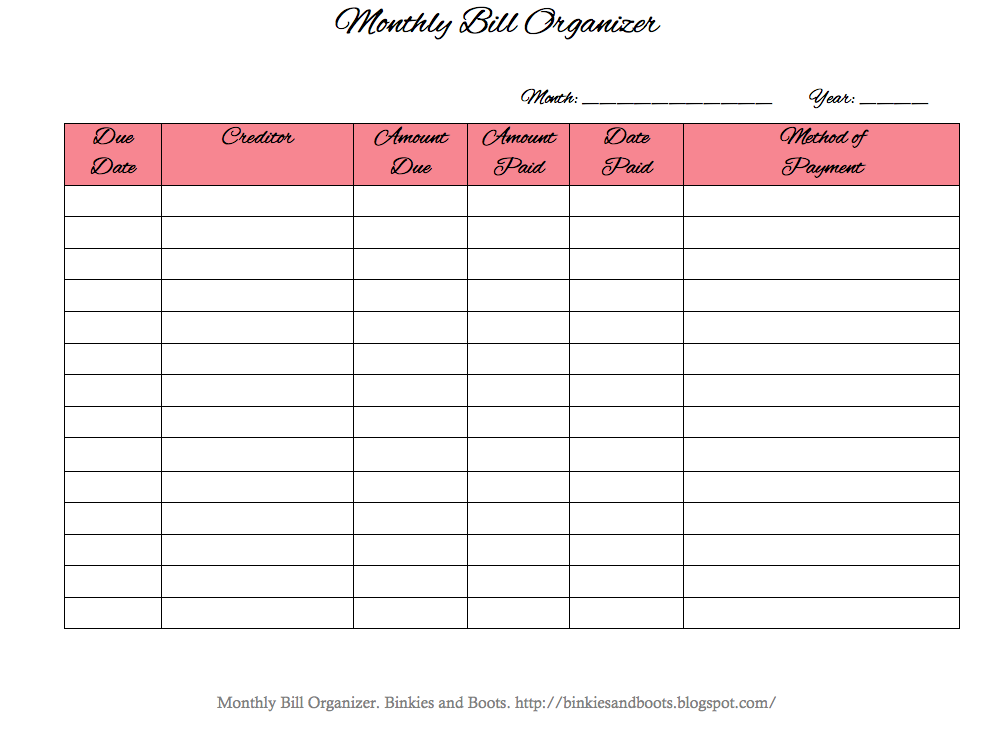 It is a picture of Dynamite Free Printable Monthly Bill Organizer Sheets