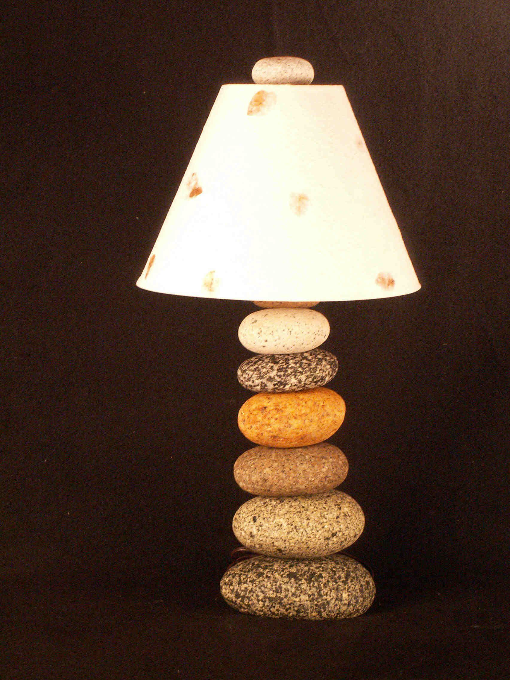 Stacked River Stone Lamp By Funky Rock Designs Diy Arts