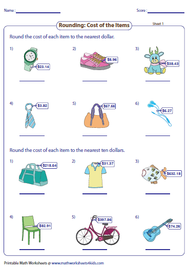 Rounding Cost Of The Items Measurement Worksheets Pinterest