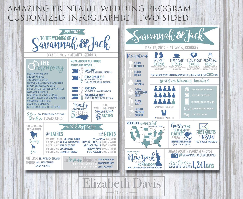 Infographic Wedding Program printable   modern, fun, entertaining ...