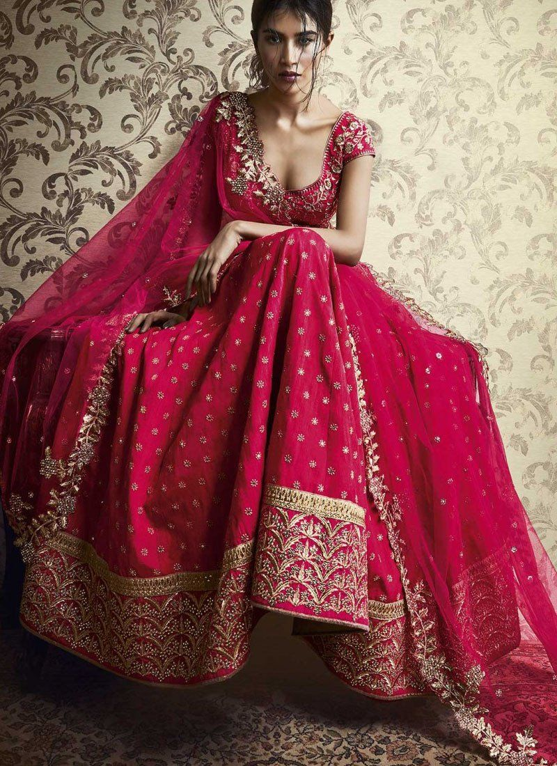 584bc344b3 Pink Silk Embroidered Lehenga Choli - Haya Creations | OUTFITS ...