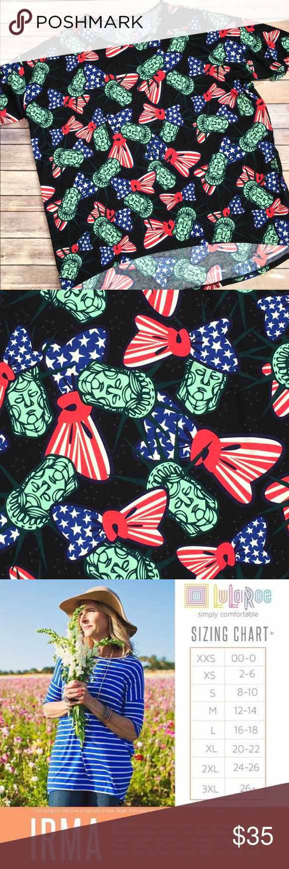 LulaRoe AMERICANA Collection 3xl Irma HURRY!!! This beauty will ship in time for July 4th! Soft tshirt material and SO AMERICAN!! 🇺🇸 JOIN us on FB at LulaRoe Johnny and Lo VIP Group! LuLaRoe Tops Tunics