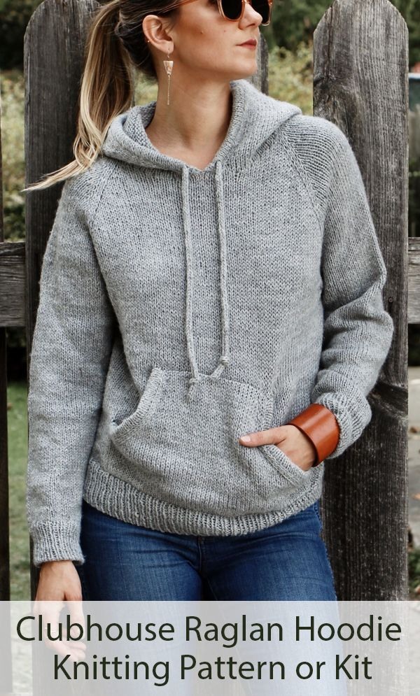 Knitting Pattern for Clubhouse Raglan Hoodie