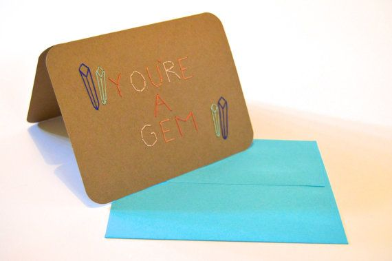 You're A Gem hand-stitched card, handmade birthday card