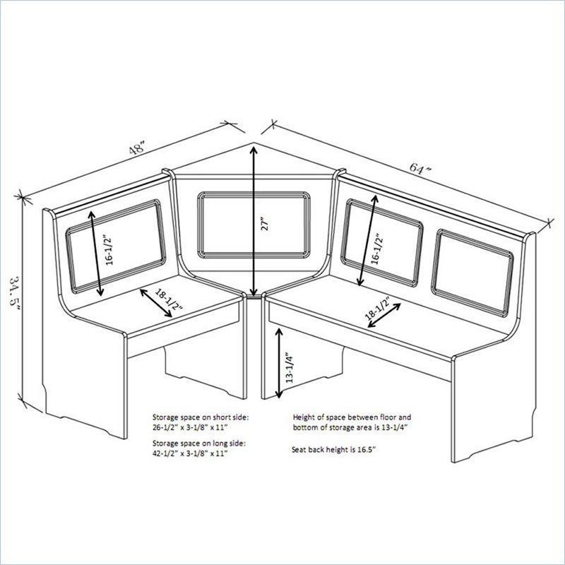 Linon Ardmore Breakfast Corner Nook Table Set In White   K90305WHT AB KD