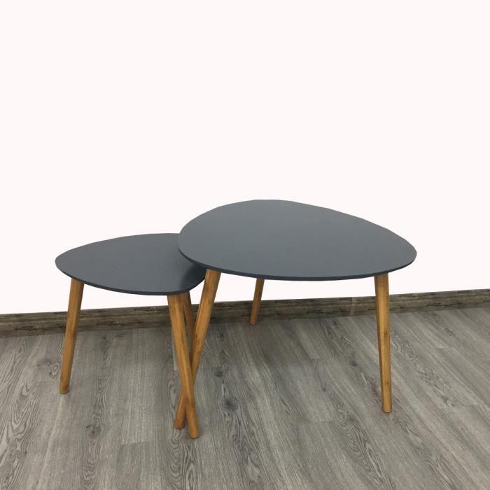 Table Basse Lot De 2 Tables Basses Gigognes Style Scandinave