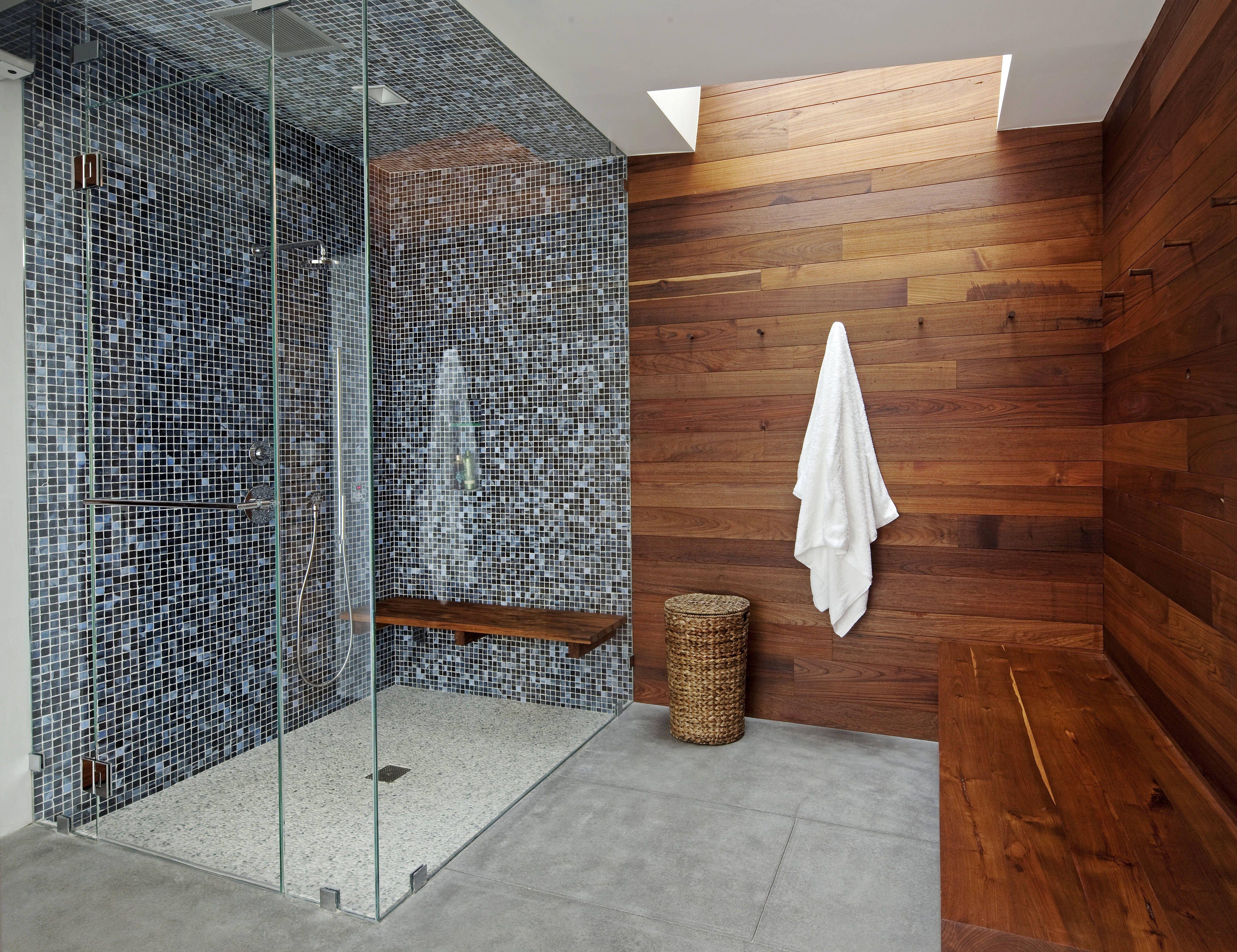 Katie Leede and Company Pool house shower. Basement