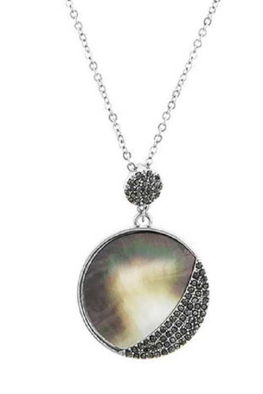 Details about pave abalone pendant necklace with dangle earrings set details about pave abalone pendant necklace with dangle earrings set silver tone jewelry 24 dangles abalone shell and round pendant mozeypictures Image collections
