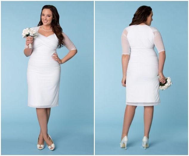 Classy plus size dresses 23 cuteplus for Robes blanches simples pour le mariage de palais de justice