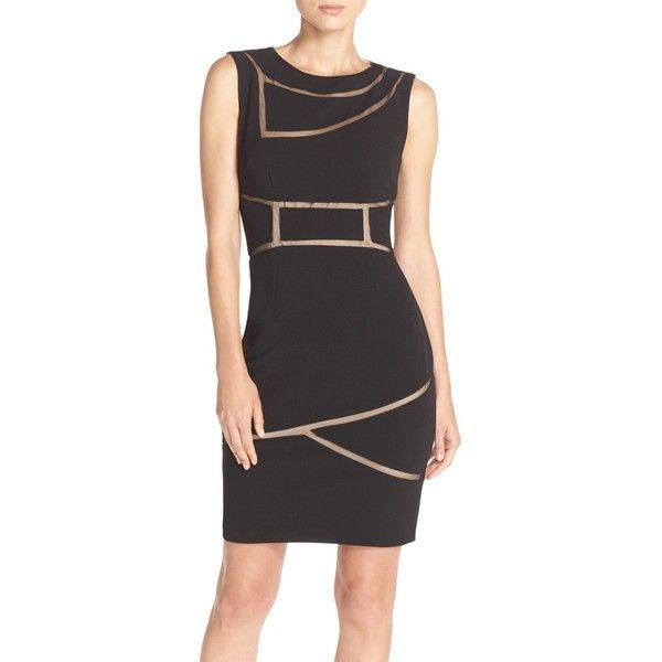 JS Collections Ottoman Sheath Dress (5,425 INR) ❤ liked on Polyvore featuring dresses, zip back dress, geometric pattern dress, back zipper dress, little black dress and geo print dress