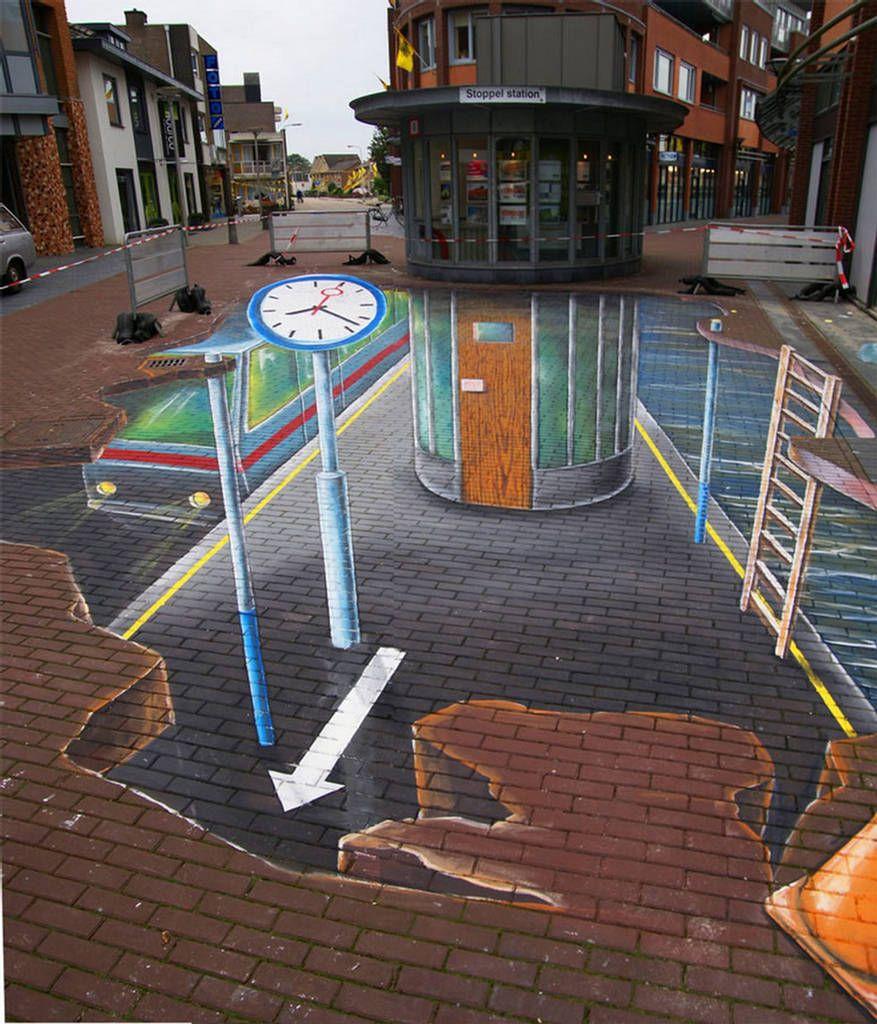 New amazing 3d sidewalk art painting photos 3d painting for Amazing art paintings