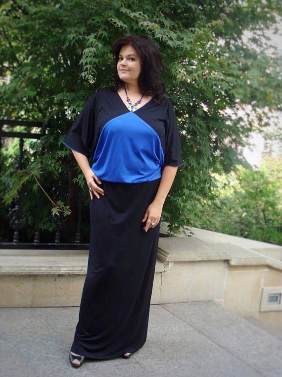 Elegant Plus Size Dress Maxi Dress Black And Blue Jersey Clothing