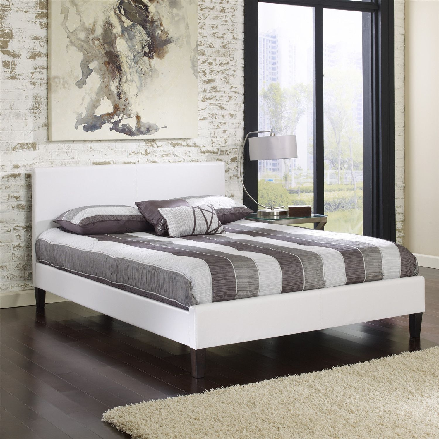 Queen size White Faux Leather Platform Bed Frame with Headboard ...