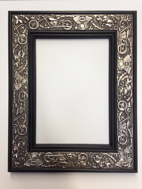 Harley Davidson Motorcycle Picture Frame Silver And Black 3x5 4x6