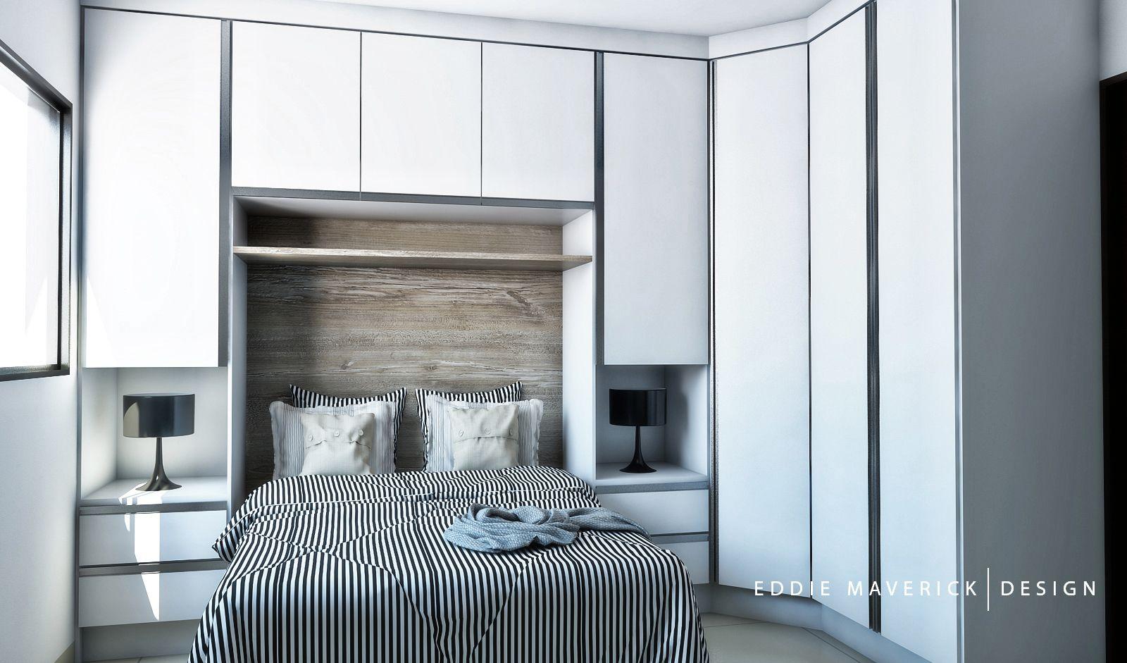 Guarda Roupa com cama de casal embutida Planejados  ~ Quarto Casal Guarda Roupa