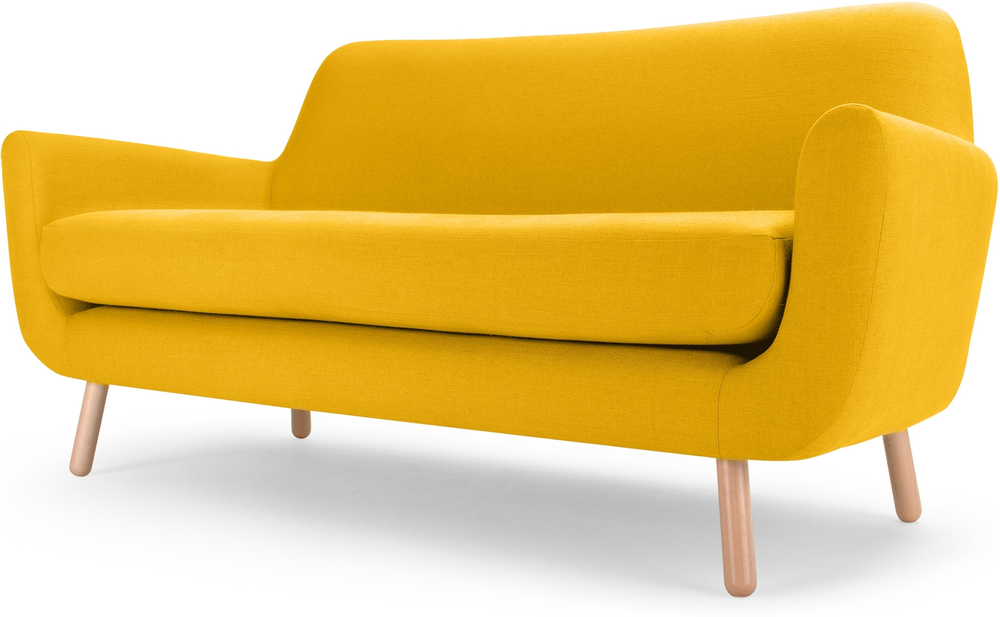 Extravagant Modern Minimalist Yellow Sofas Wooden Style Frame With Softy Foam Material Finished