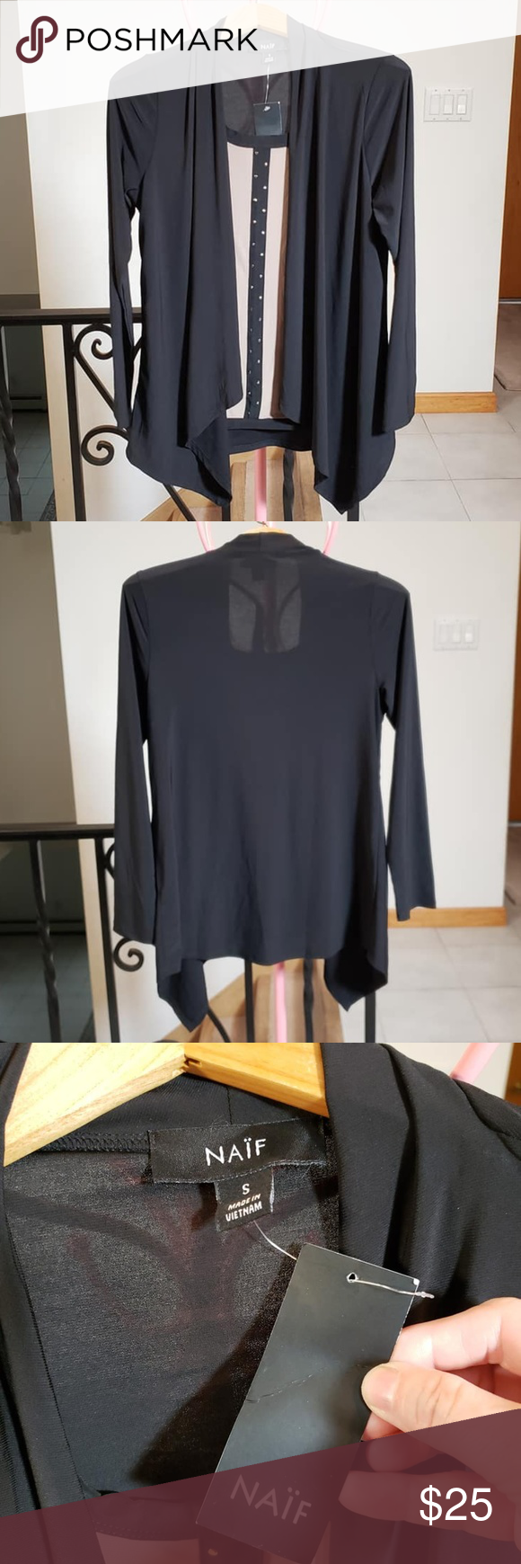 NAIF blouse with attached cardigan NWT Black  Cardigan with a tan and black attached blouse. Gold studs down center of Blouse. Made from polyester and…