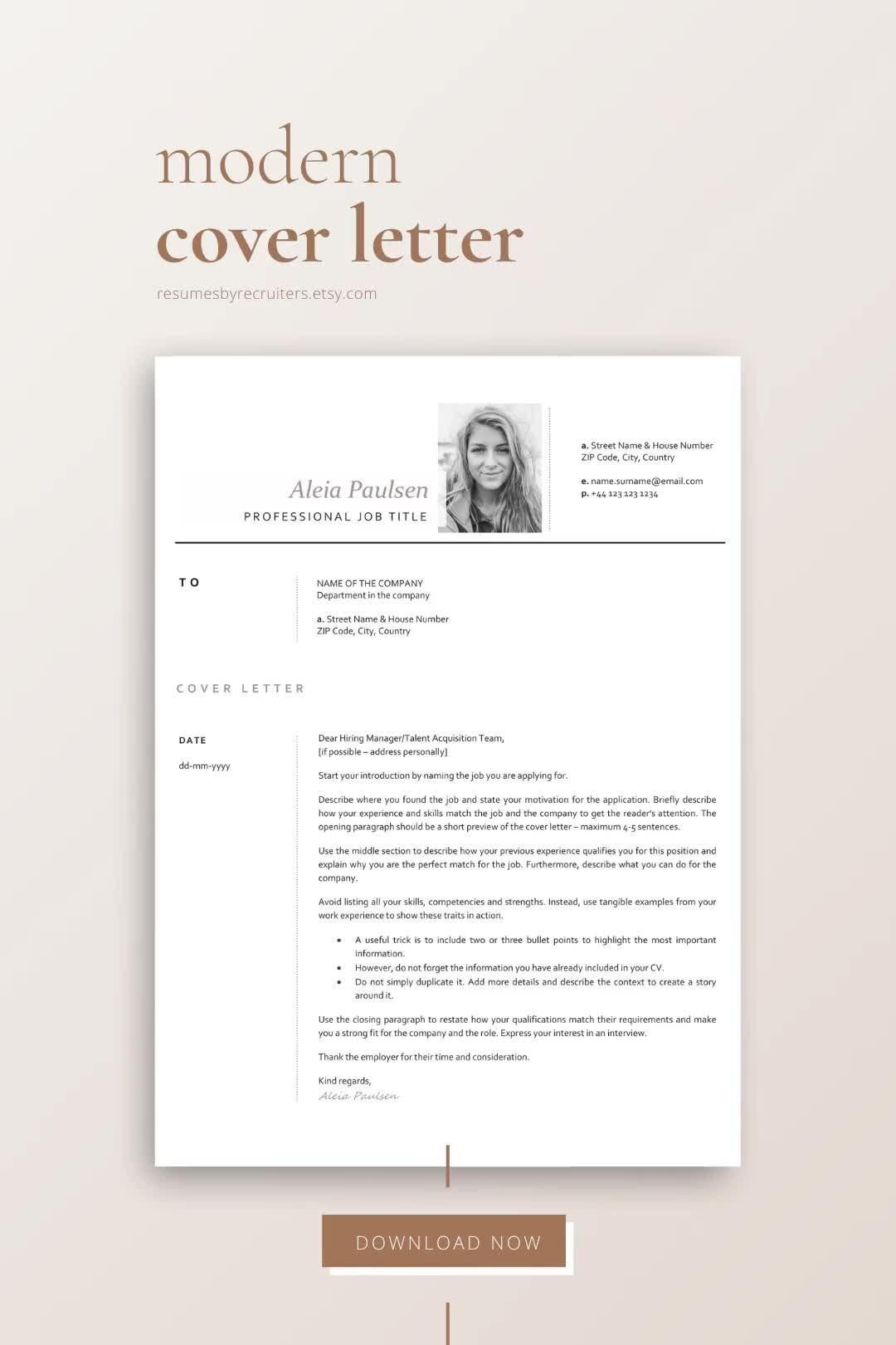 Photo Resume Template Instant Download Cv Template For Word Etsy Video Video In 2021 Cover Letter Template Lettering Resume Design Inspiration