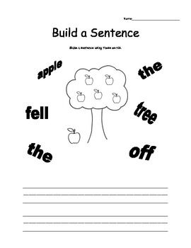Build A Sentence Worksheets Sentence Order Punctuation First Grade Writing Kindergarten Writing Writing School