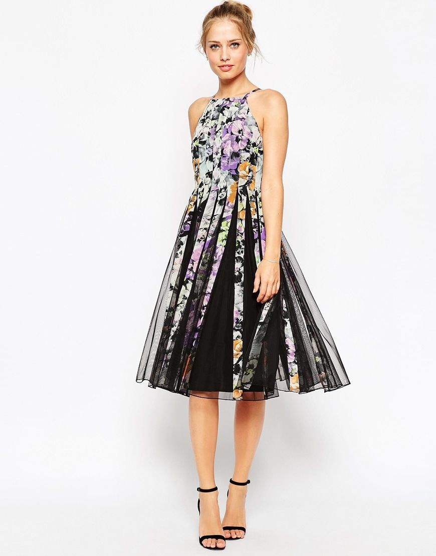ASOS Mesh Fit And Flare Midi Dress in Dark Floral Print JessKyle
