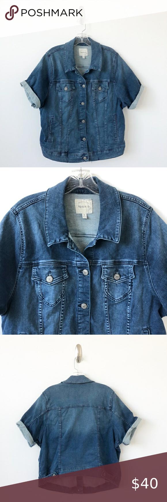 Torrid Denim Jacket Short Sleeves Blue Jean 3 3x Denim Jacket Short Denim Jacket Jackets [ 1740 x 580 Pixel ]