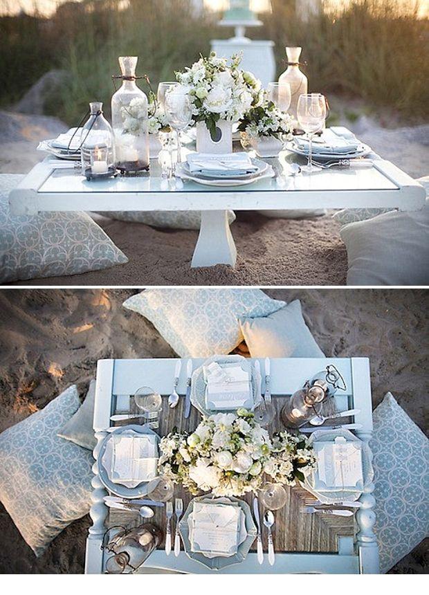Tischdeko am strand tischdeko romantisch pinterest - Tischdeko strand ...