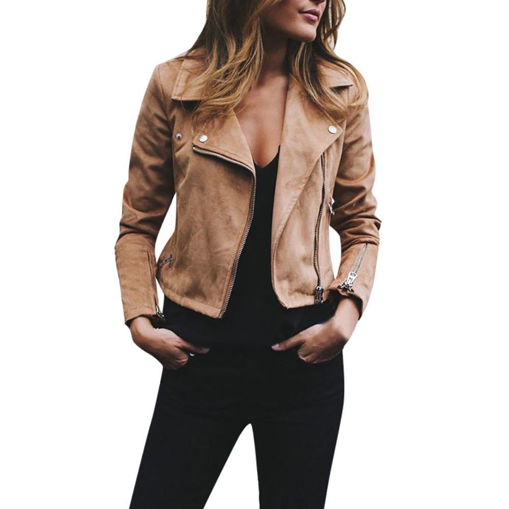 Retro Rivet Zip Up Jacket Khaki Xl In 2021 Bomber Jacket Women Leather Jackets Women Autumn Jacket Women [ 1000 x 1000 Pixel ]
