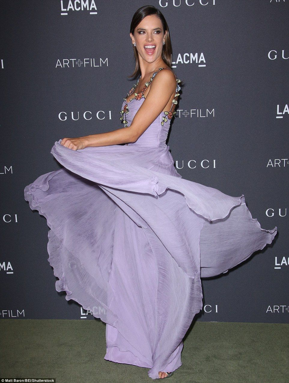 Alessandra Ambrosio shows off bare back in lovely flower-strap #Gucci gown at LACMA Art + Film Gala on October 29, 2016