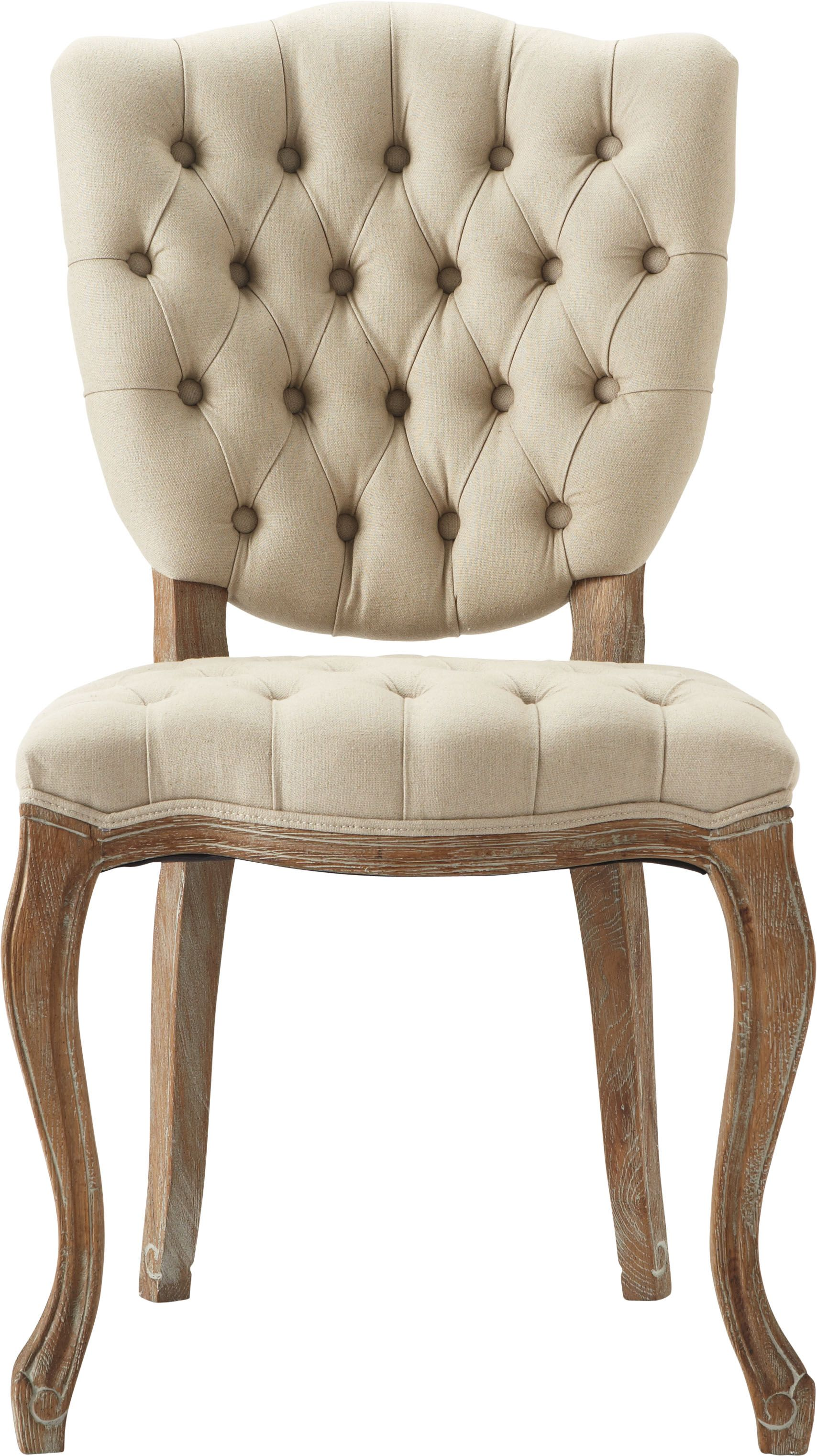 Tufted linen A distressed Oak frame The Ava Dining Chair